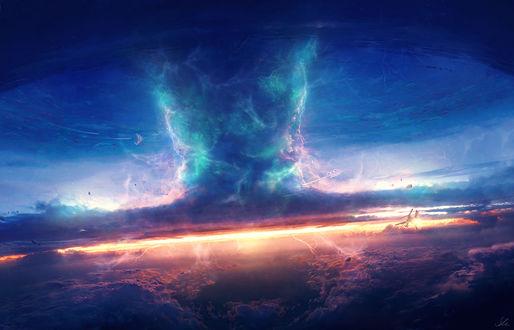 Обои Торнадо с молниями в небе