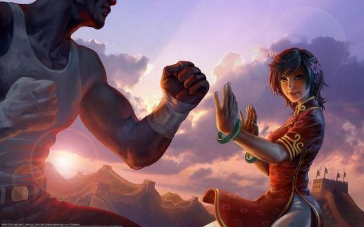 Обои Девушка азиатской внешности с сиреневым цветком в волосах, готовится к рукопашному бою с мужчиной на фоне заходящего за горы яркого солнца
