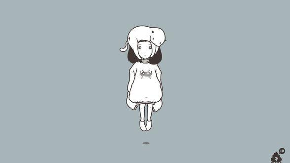 Обои Девочка в белом свитере с кошкой, лежащей у нее на голове