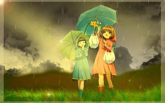Обои Две девочки, одетые в резиновые сапоги, идущие по высокой мокрой зеленой траве под сильным дождем, держа над головой зонтики, у одной из девочек перекинут через руку узелок с провизией, в другой руке маленький котенок, который тоже держит в лапках узелок