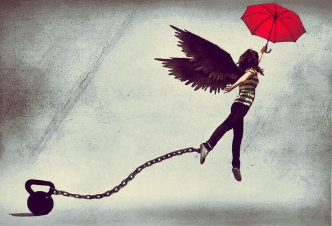 Обои Девушка-ангел, прикованная цепью к гире, пытается взлететь, держась за зонт