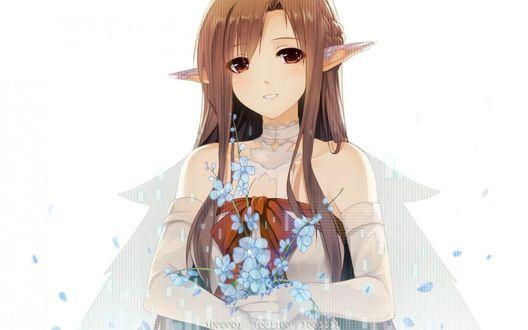 Обои Асуна Юки / Asuna Yuuki из аниме Мастера Меча Онлайн / Sword Art Online с голубыми цветами в руках