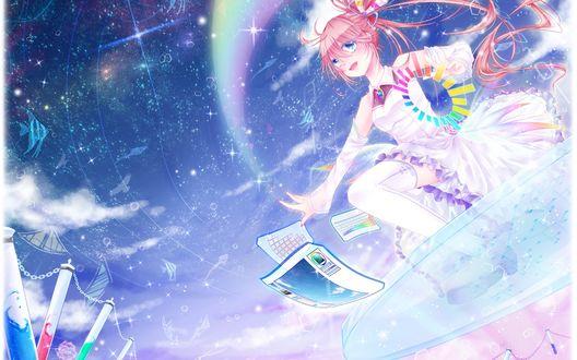 Обои Девушка парит в небе на каком-то стеклянном предмете, из ее руки появляется радуга