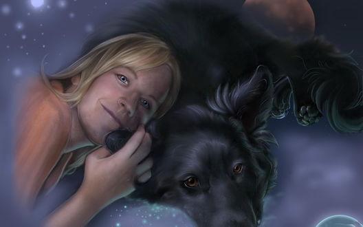 Обои Белокурая девушка прислонила голову к черной собаке с карими грустными глазами на фоне неба и планет