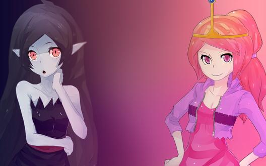 Обои Marceline Abadeer и Princess Bonnibel Bubblegum, из Время приключений / Adventure time в стиле аниме