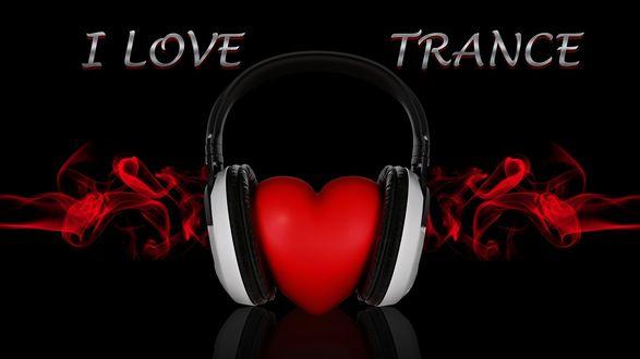 Обои Сердце в наушниках (I love trance / Я люблю транс)