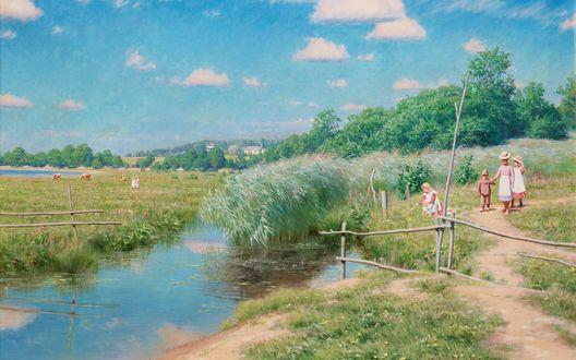 Обои Люди стоят около речки на фоне деревьев и неба, художник Johan Krouthen