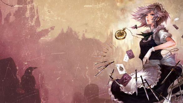 Обои Девушка в форме горничной на фоне часов, улетающих карт и множества ножей