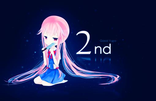 Обои Yuno Gasai / Юно Гасай из аниме Дневник Будущего / Future Diary / Mirai Nikki сидит с ножом у лица (2nd)