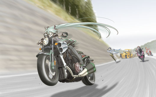 Обои Vocaloid Hatsune Miku / Вокалоид Хатсуне Мику едет на мотоцикле