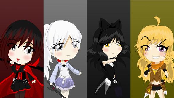 Обои Чиби / Chibi девушки из аниме RWBY (Red, White, Black, Yellow)