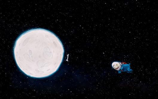 Обои Собака, одетая в скафандр, парит в космосе, впереди парит кость, видна полная Луна