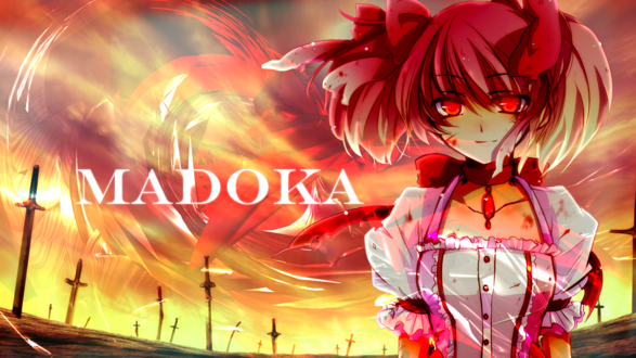 Обои Мадока Канамэ / Madoka Kaname из аниме Девочка-Волшебница Мадока Магика / Mahou Shoujo Madoka Magica