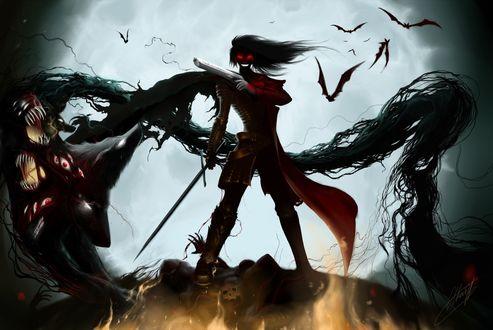 Обои Алукард / Alucard из аниме Хеллсинг / Hellsing на фоне луны