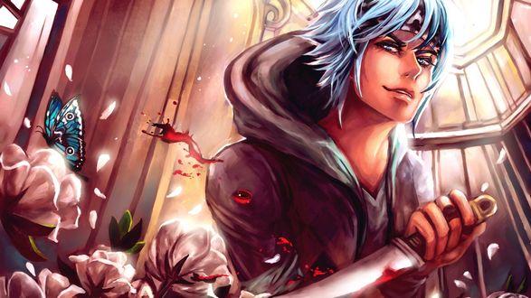 Обои Парень держит в руках нож и смотрит в сторону на фоне розовых цветов