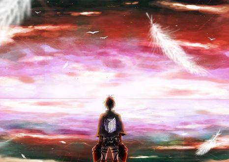 Обои Eren Jaeger / Эрэн Джагер из аниме Shingeki no Kyojin / Вторжение Гигантов