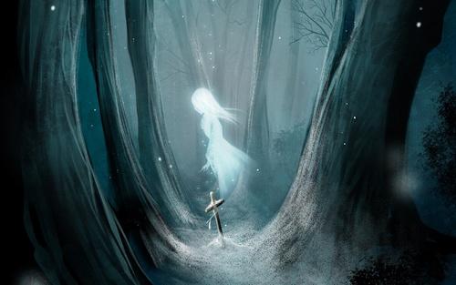 Скачать обои призрак, девушка, снег, деревья картинка 1920x1200 на рабочий стол бесплатно