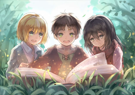Обои Маленькие Armin Arlert / Армин Арлерт, Eren Jaeger / Эрэн Джагер и Mikasa Ackerman / Микаса Аккерман читают книгу, аниме Shingeki no Kyojin / Вторжение гигантов