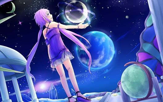 Обои Вокалоид Юзуки Юкари / Vocaloid Yuzuki Yukari стоит на фоне ночного неба и планет