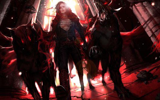 Обои Парень-демон идет рядом с двумя демоническими псами