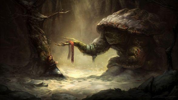 Обои Гигантская черепаха протягиваят девушке красный шарф