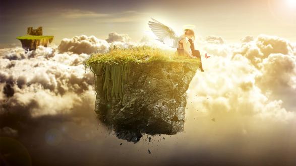 Обои Девушка-ангел сидит на парящем в воздухе островке посреди облаков