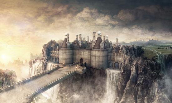 Обои Сказочный замок на обрыве