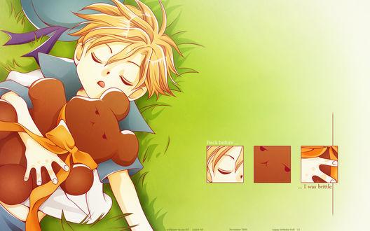 Обои Хани из аниме Ouran High School Host Club / Клуб Свиданий Старшей Школы Оран спит на траве, прижимая к себе плюшевого медведя