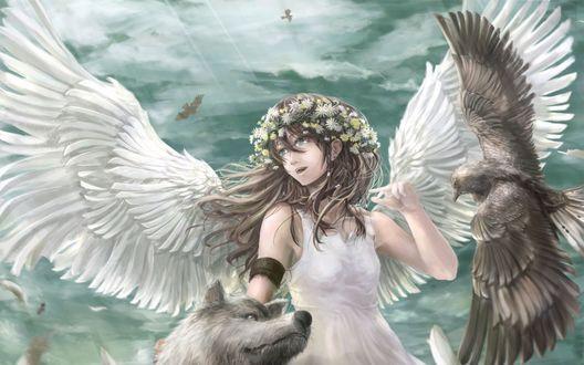 Обои Девушка ангел с белыми крыльями гладит серого волка, рядом летит птица на фоне бирюзового неба