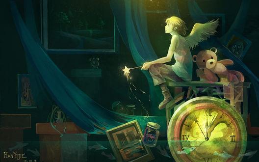 Обои Мальчик-ангел с волшебной палочкой в руках сидит на столе в затопленной комнате, рядом лежит плюшевый медведь, в воде плавают рыбки, часы и другие предметы