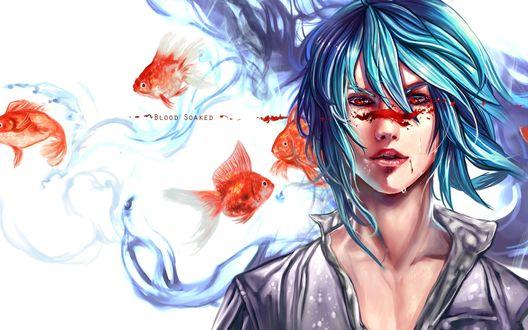 Обои Плачущий парень с голубыми волосами с кровью на лице стоит в окружение золотых рыбок (Blood Soaked)