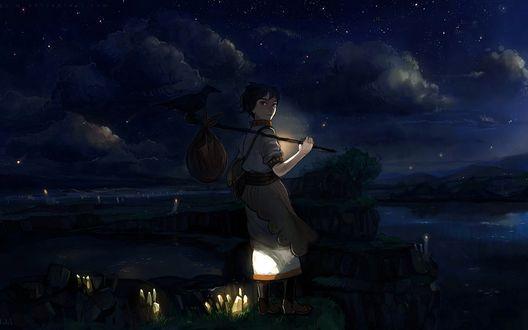 Обои Девушка с палкой на плече, на которой висит узелок и сидит ворон, стоит на холме среди светящихся камней на фоне ночного неба и гор