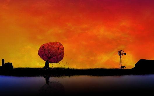 Обои Одинокое дерево с красными листьями, стоящее на берегу реки, рядом расположен ветряк с флюгером, лошадь и конюшня на фоне багряного неба