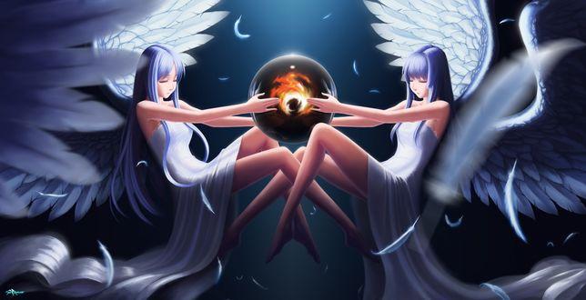Обои Двое девушек-ангелов держат в руках прозрачную сферу с огнем внутри