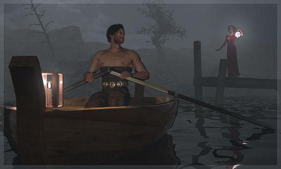 Обои Мужчина с обнаженным торсом, с глубокими царапинами на теле, плывущий в лодке в туманной вечерней мгле с зажженным фонарем на корме; на деревянном мостике с горящим фонарем его встречает любимая женщина