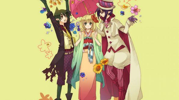 Обои Три персонажа, обсыпанных цветами, стоят под зонтиком на желтом фоне, аниме Синий Экзорцист / Ao No Exorcist