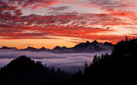 Обои Над вершинами гор, покрытых снегом и густым лесом, стелется туман на фоне оранжевого неба на закате
