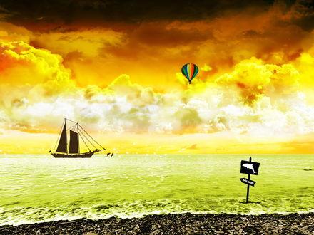 Обои Парусник, плывущий в прибрежной морской воде на фоне пасмурного неба, летящего разноцветного воздушного шара и выпрыгивающих из воды перед носом корабля пары дельфинов, на берегу стоит указатель с силуэтом дельфина и таблички с надписью Dolphin / Дельфин