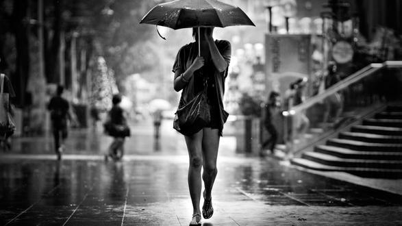 Обои Девушка с зонтом идет по улице под дождем