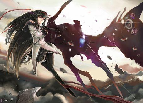 Обои Хомура Акэми / Homura Akemi из аниме Mahou Shoujo Madoka Magica / Девочка-волшебница Мадока Магика