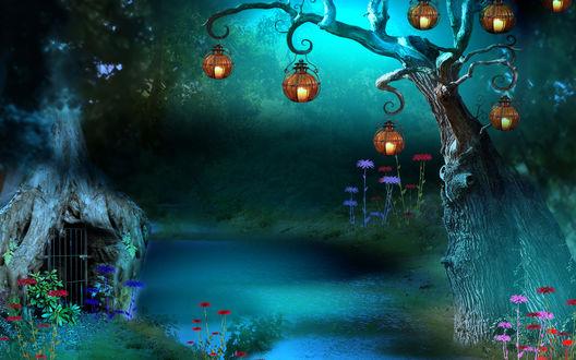 Обои Сказочная поляна с небольшим ручьем, протекающим в лесной чащобе, стоящей на берегу избушкой в форме корневища дерева с железной, решетчатой дверью, разноцветными цветами на высоких стеблях, круглыми фонариками с горящими в них свечами, висящими на ветках дерева на фоне небесного свечения