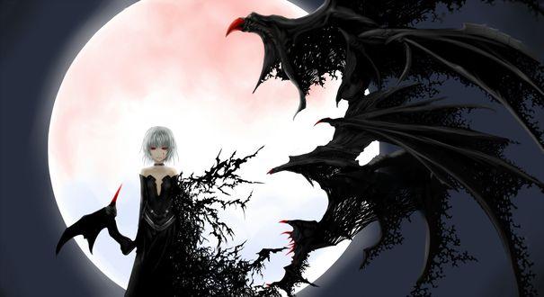 Обои Девушка в черном платье с крыльями демона с красными глазами стоит на фоне полной луны