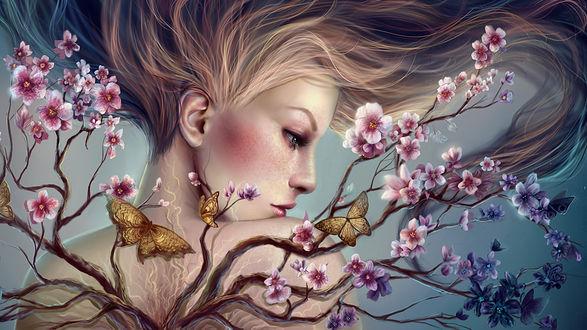 Обои Светловолосая девушка, из спины которой растут ветки с цветами, на ветках сидят бабочки