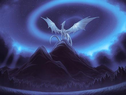 Обои Ледяной дракон выдувает из пасти вихрь ветра, стоя на вершине скалы на фоне ночного неба