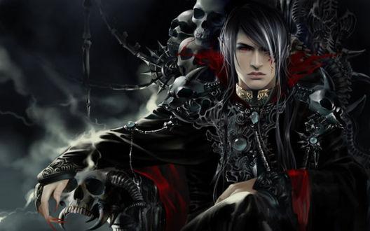 Обои Парень с красными глазами, с татуировкой на лице сидит на троне, сделанном из костей