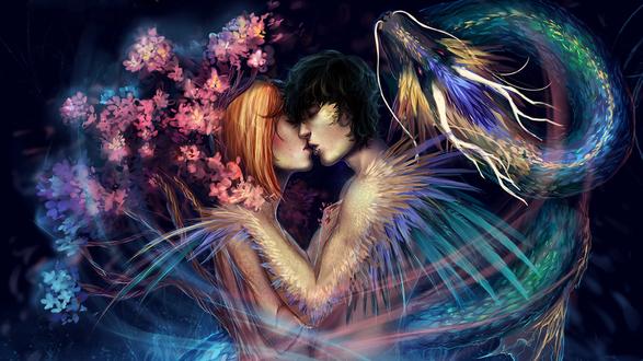 Обои Девушка, олицетворяющая красоту цветущего дерева, и парень, олицетворяющий силу дракона, целуются