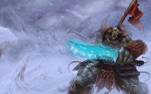 Обои Орк воин с оружием и ордынским флагом / арт к игре World Of Warcraft