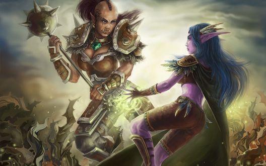 Обои Девушка орк замахивается булавой на ночную эльфийку / арт к игре World Of Warcraft