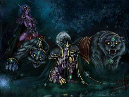 Обои Майев Песнь Теней с другой охотницей верхом на саблезубом / арт к игре World Of Warcraft