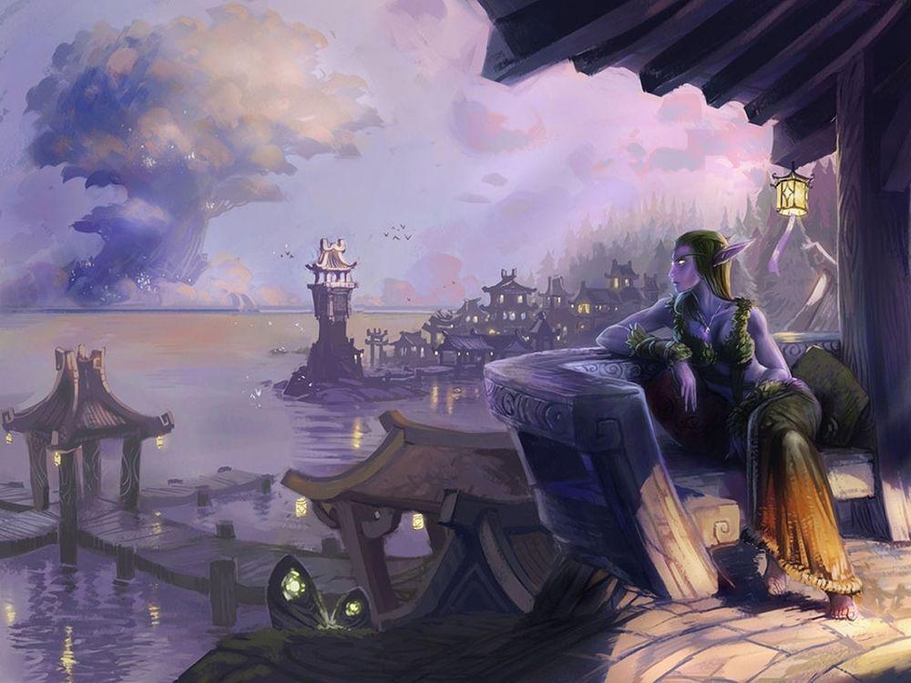 Обои для рабочего стола Задумчивая ночная эльфийка смотрит в морскую даль / арт к игре World Of Warcraft